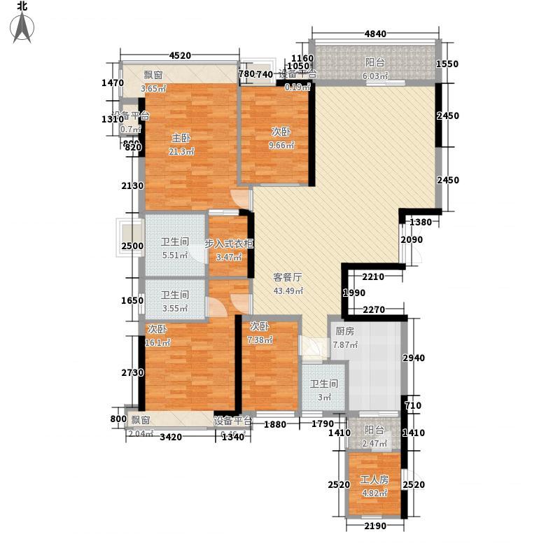 凯蓝滨江公馆125.30㎡1栋013+户型5室2厅3卫1厨