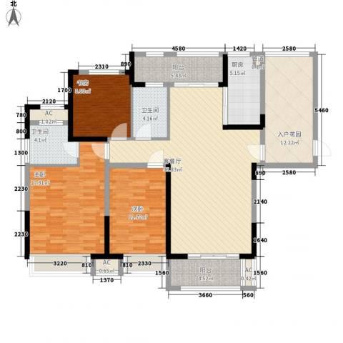 绿地中央广场3室1厅2卫1厨135.00㎡户型图