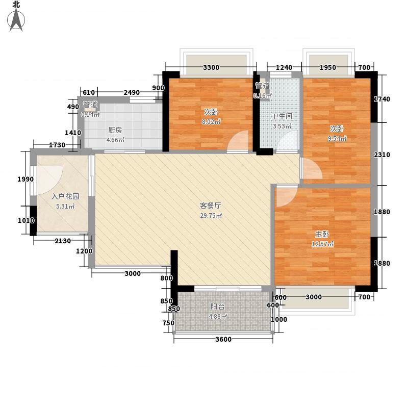 保利・中央公园1座05/2座05户型3室2厅1卫1厨