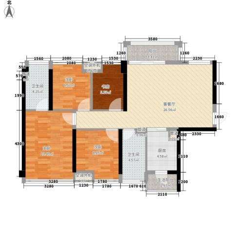 龙光天湖华府4室1厅2卫1厨115.00㎡户型图