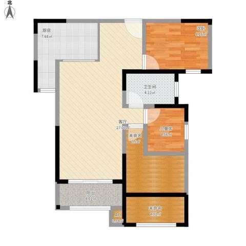 路劲主场琅悦2室1厅1卫1厨78.12㎡户型图