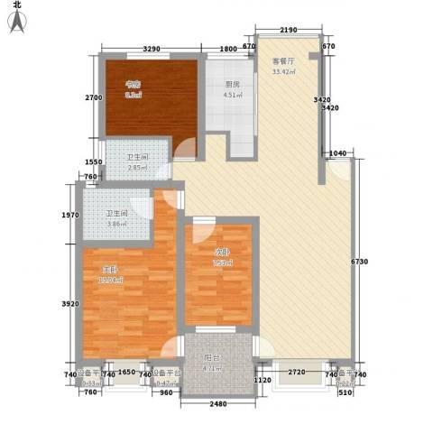 万兆家园莱茵风尚3室1厅2卫1厨114.00㎡户型图