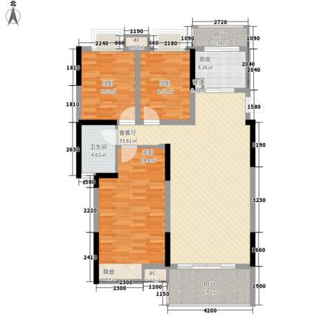 汇林阁3室1厅1卫1厨127.00㎡户型图