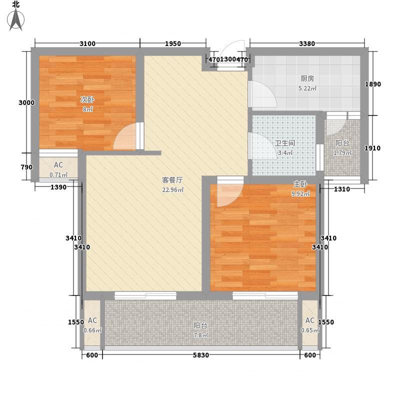 凤鸣缇香二期1#5#7#标准层A1户型2室2厅1卫1厨