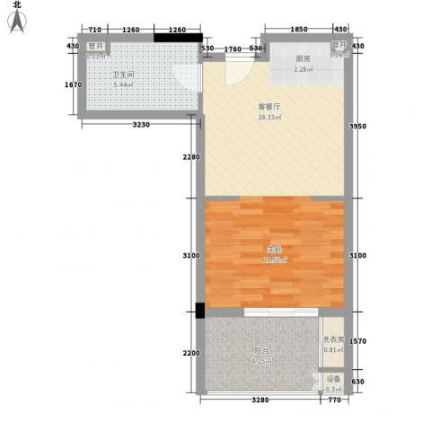 阳光半山森景1厅1卫0厨56.00㎡户型图