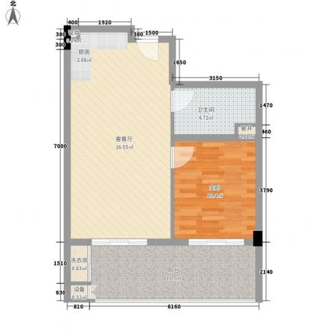 阳光半山森景1室1厅1卫0厨77.00㎡户型图