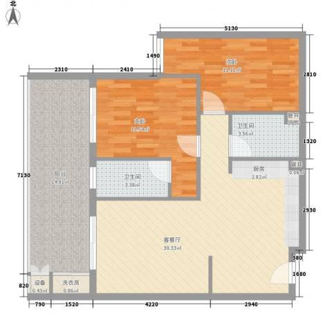 阳光半山森景2室1厅2卫0厨107.00㎡户型图