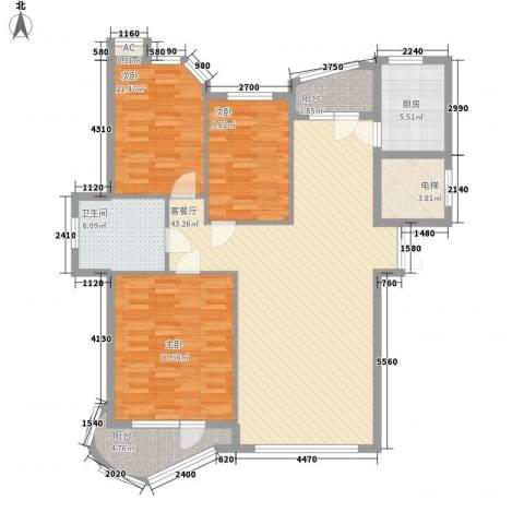 东城天下3室1厅1卫1厨105.23㎡户型图