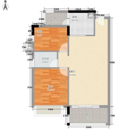 丽景阳光2室1厅1卫1厨82.00㎡户型图
