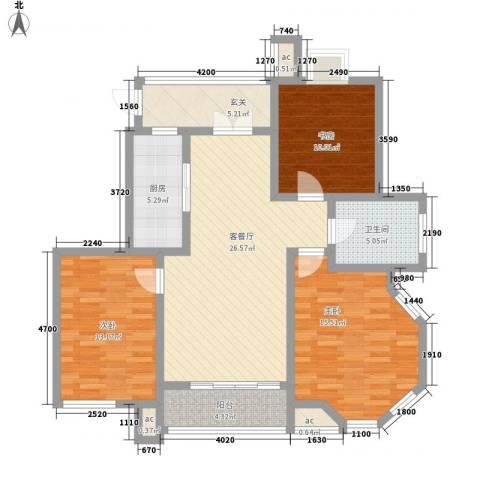 凯运天地水岸华邑3室1厅1卫1厨127.00㎡户型图