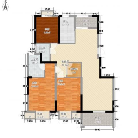申鑫名城3室1厅2卫1厨154.00㎡户型图