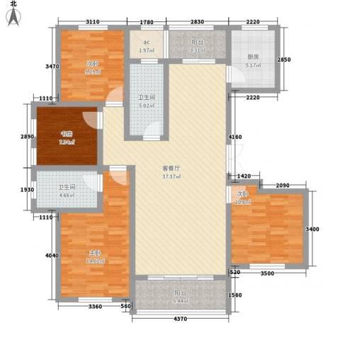 凯运天地水岸华邑4室1厅2卫1厨152.00㎡户型图