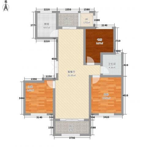 凯运天地水岸华邑3室1厅1卫1厨117.00㎡户型图
