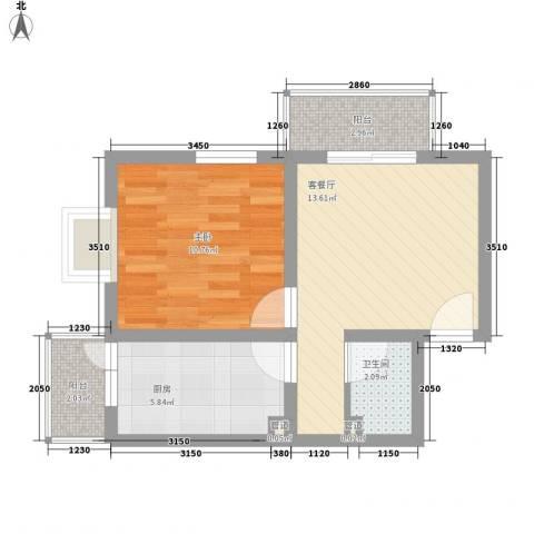 丽都花园1室1厅1卫1厨44.27㎡户型图