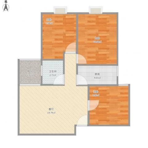 南悦花苑3室1厅1卫1厨77.00㎡户型图