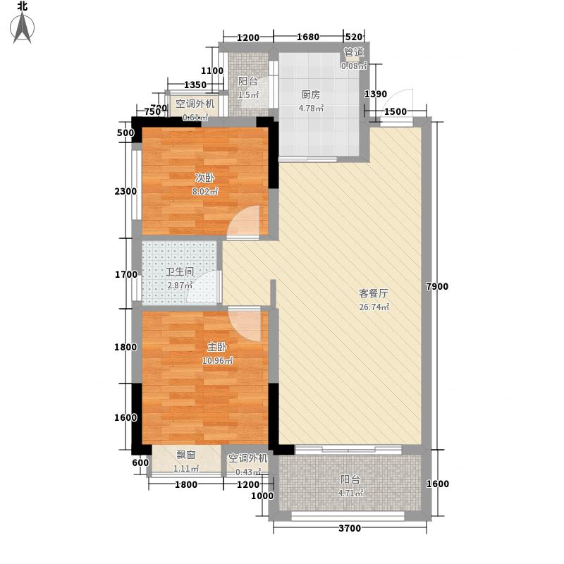 远洋・翡丽郡77.86㎡09栋04户型2室2厅1卫1厨