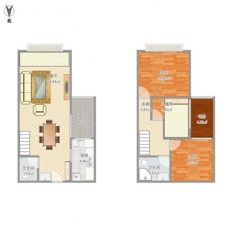 汇景新城4室1厅2卫1厨106.00㎡户型图