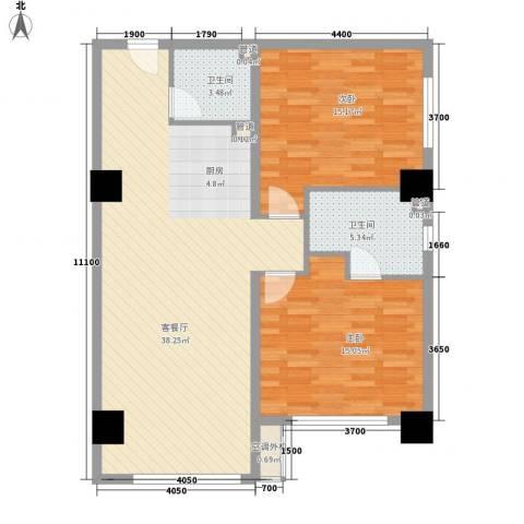 东方新居2室1厅2卫0厨110.00㎡户型图