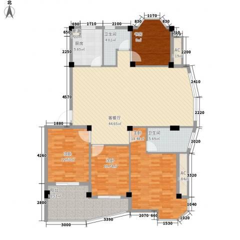 蓝湾景天4室1厅2卫1厨141.00㎡户型图