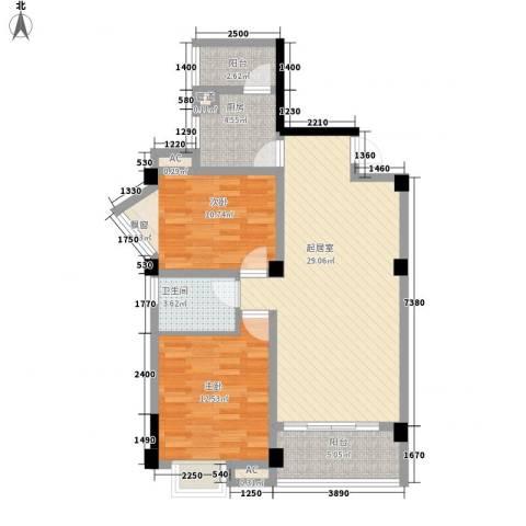香木林加州国际2室0厅1卫1厨88.00㎡户型图
