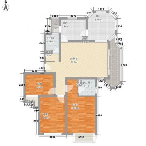 大华锦绣华城锦绣路3338弄小区3室1厅2卫1厨131.00㎡户型图
