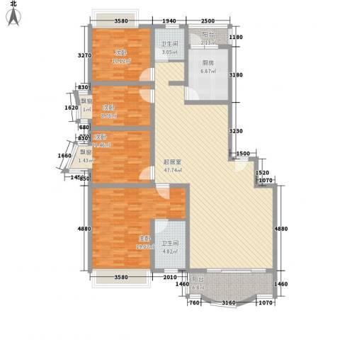 白沙花园4室0厅2卫1厨169.00㎡户型图