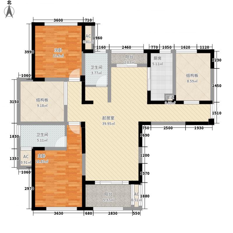 金大地1912124.10㎡A2户型2室2厅2卫1厨