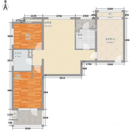 富力丹麦小镇别墅2室0厅1卫1厨101.00㎡户型图