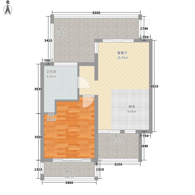 苍山假日公园61.50㎡B3户型1室1厅1卫1厨