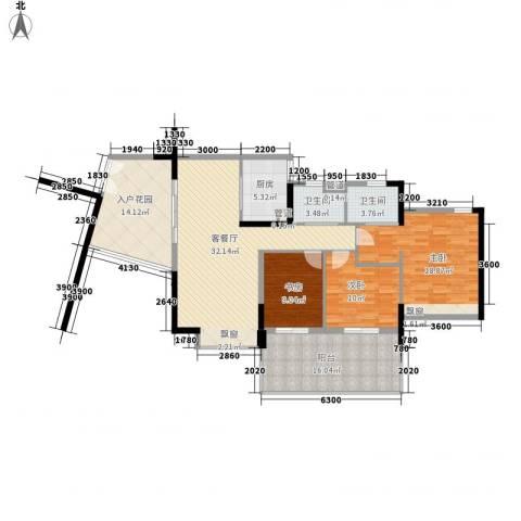 华发世纪城三期3室1厅2卫1厨115.00㎡户型图