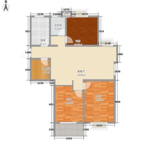大学城博雅居3室1厅1卫1厨127.00㎡户型图