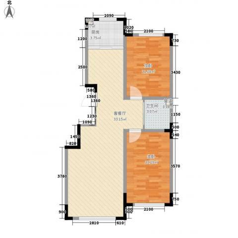 中央领地2室1厅1卫1厨87.00㎡户型图