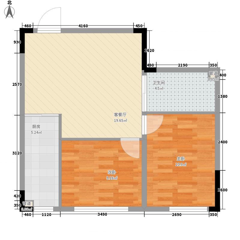 中央领地66.46㎡二室二厅一卫66.46㎡户型2室2厅1卫1厨