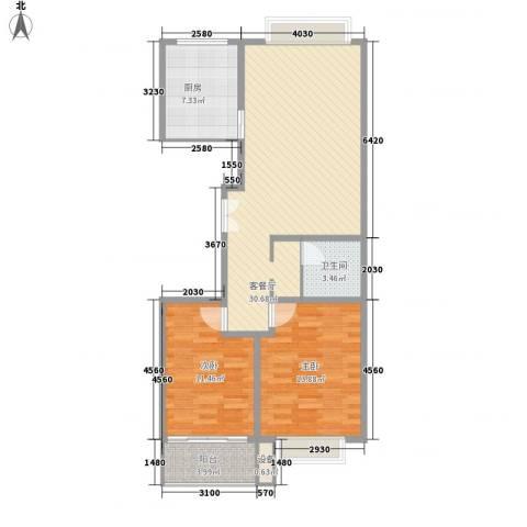 嘉禾花园2室1厅1卫1厨100.00㎡户型图
