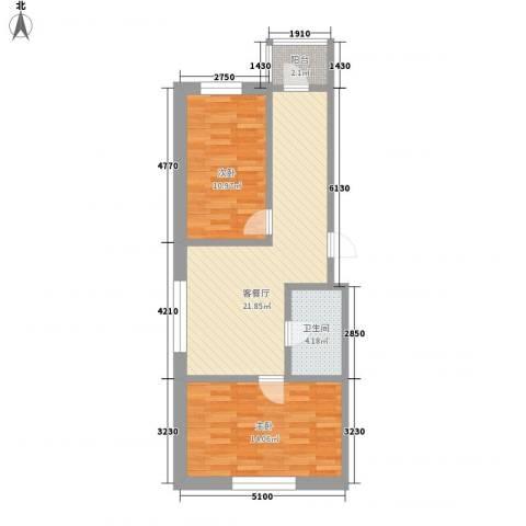 新苑小区2室1厅1卫0厨76.00㎡户型图