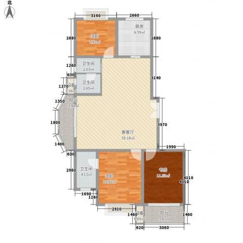 嘉禾花园3室1厅3卫1厨129.00㎡户型图