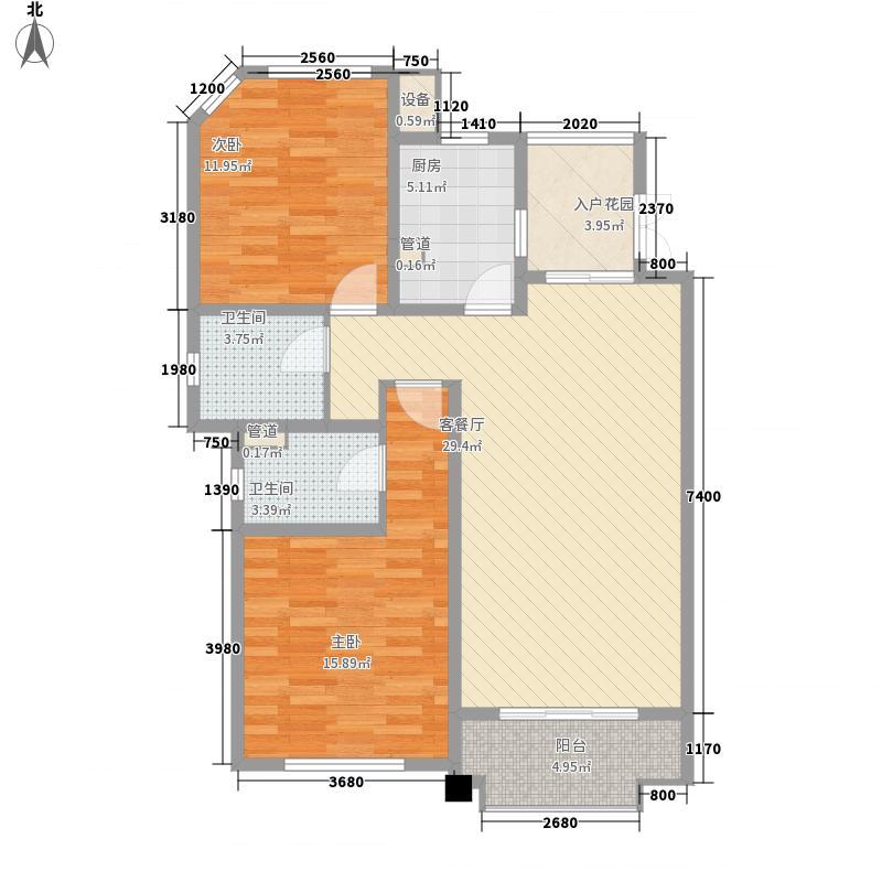 尚东国际名园二期111.99㎡J户型2室2厅2卫1厨