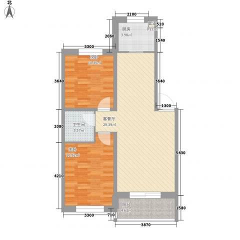 枫尚奥园2室1厅1卫1厨88.00㎡户型图