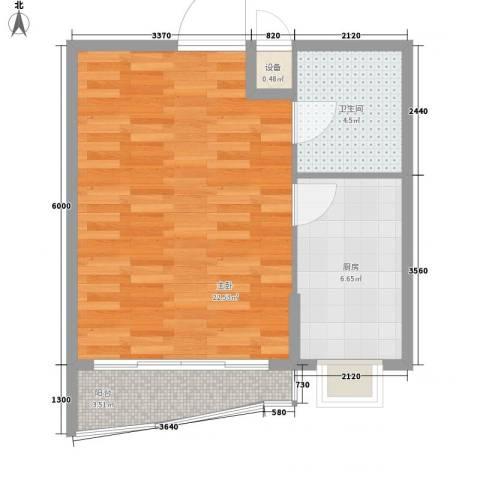 新苑小区1室0厅1卫1厨52.00㎡户型图