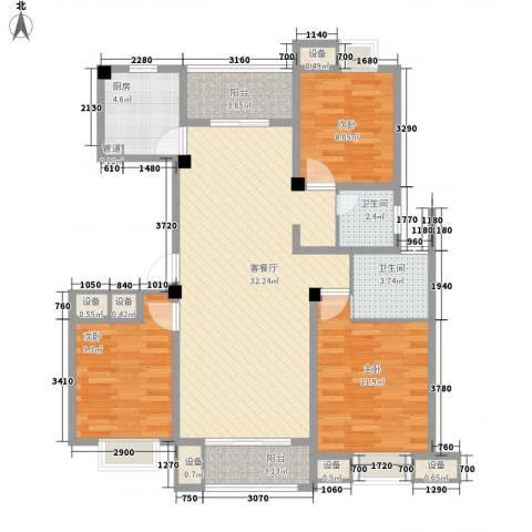 明鸿春晓3室1厅2卫1厨119.00㎡户型图