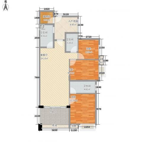 万科金色荔苑3室1厅3卫0厨125.00㎡户型图