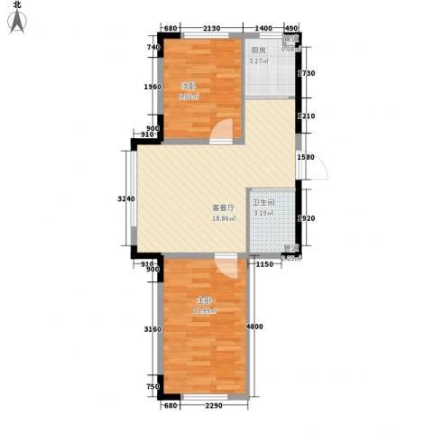中央领地2室1厅1卫1厨66.00㎡户型图
