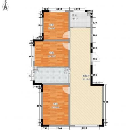 中央领地3室1厅1卫1厨88.00㎡户型图