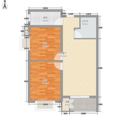 水岸丽景2室1厅1卫1厨87.00㎡户型图