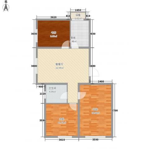 宜家观澜3室1厅1卫1厨96.00㎡户型图