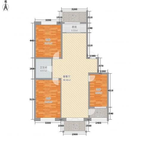 新苑小区3室1厅1卫1厨129.00㎡户型图