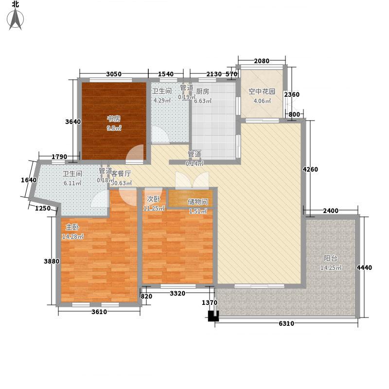 尚东国际名园二期145.57㎡K户型3室2厅2卫1厨