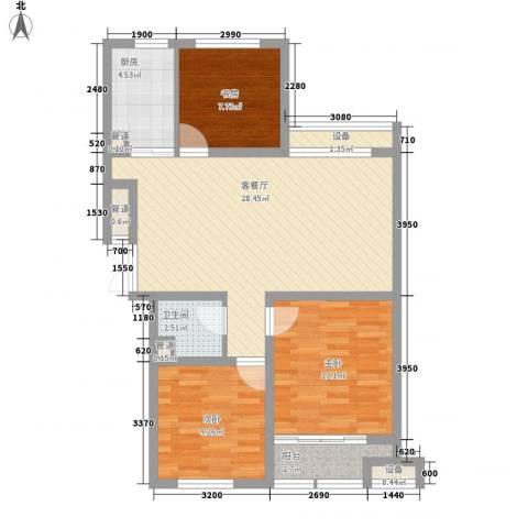 金色年华3室1厅1卫1厨69.92㎡户型图
