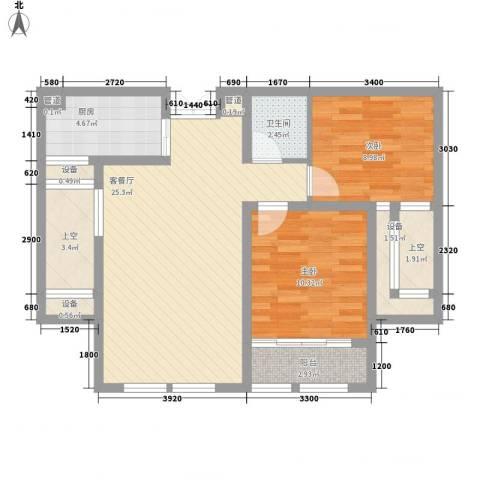 金色年华2室1厅1卫1厨87.00㎡户型图
