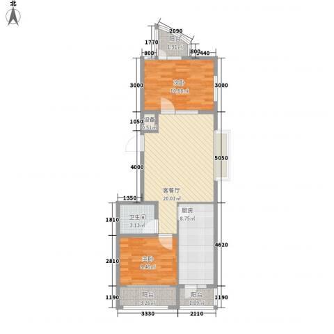 新苑小区2室1厅1卫1厨84.00㎡户型图